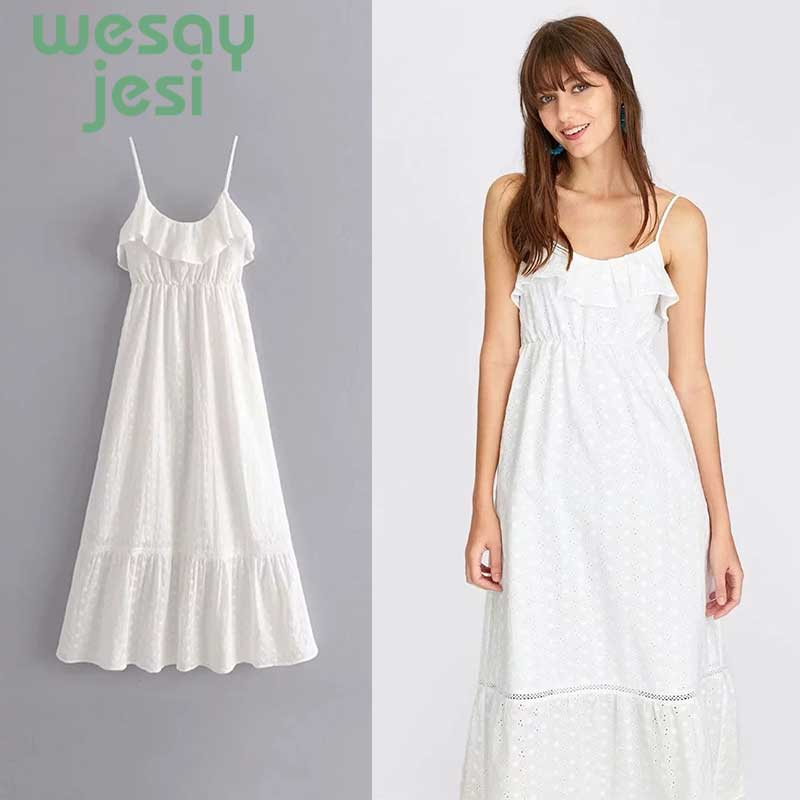 Summer Women Dress 2019 Vintage Sexy Bohemian Beach Sundress fashion White Strap casual white dress