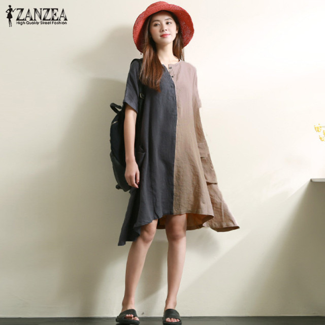 ZANZEA 2018 Summer Asymmetrical Mini Dresses Women Round Neck Short Sleeve  Patchwork Retro Cusual Loose Cotton Linen Vestidos 209b90446
