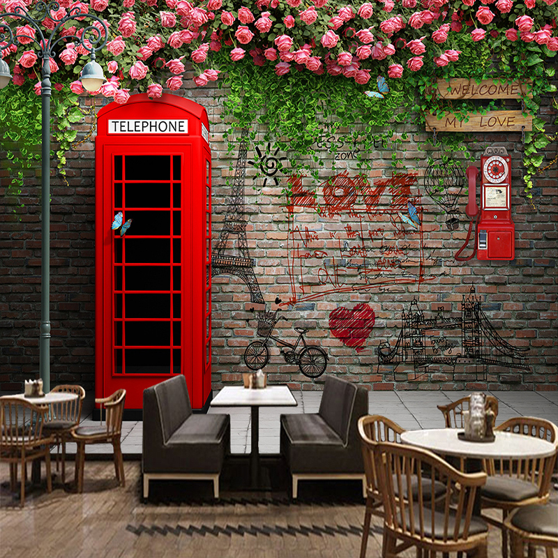 Wallpaper For Kids Room Gaffiti Painting Art Style 3D Telephone Booth Cafe Background Bedroom Wall Cloth Wall Covering 3D Murals