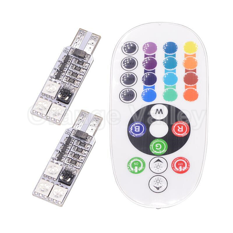 10set RGB Hot Products T10 W5W 194 501 6 5050 SMD Car Leds Auto Interior Wedge Light Strobe Flash 16 Colors With Remote Controll