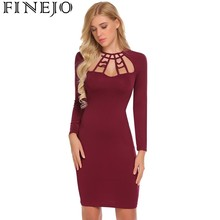 FINEJO Women Sexy Long Sleeve Hollow Out Solid Party Bodycon Dress Spring Autumn Slim Fashion Ladies Femme Dresses Vestidos