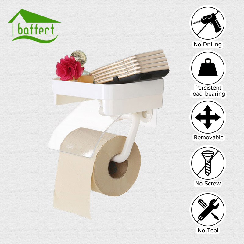Sucker Wall Mounted Toilet Paper Holder Bathroom Fixture Plastic Roll Paper Holders With Mobile Phone Storage Shelf Rack
