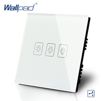 Wallpad Luxury White Crystal Glass Wall Switch Touch Switch Normal 3 Gang 2 Way Switch AC