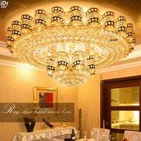 Высокопробного золота хрустальные светильники светодиодные лампы традиционной круглой гостиная минималистский Освещение фабрики Потоло