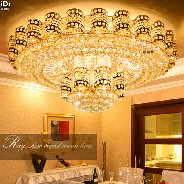 High Grade Gold Crystal Lamps LED Lamps Traditional Circular Living Room  Minimalist Lighting Factory Ceiling