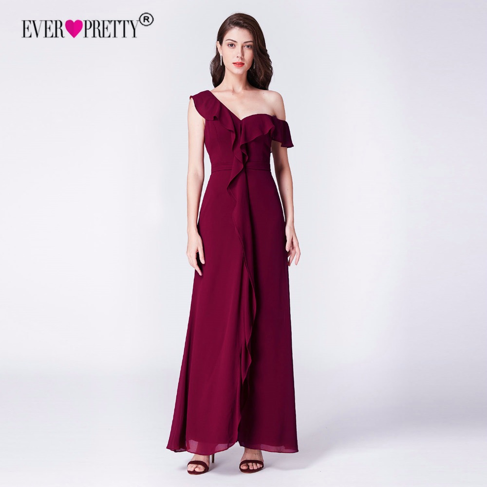 Burgundy   Bridesmaid     Dresses   Ever Pretty EP07431BD Elegant A Line Off Shoulder Chiffon Long Wedding Guest Gowns With Ruffles 2018