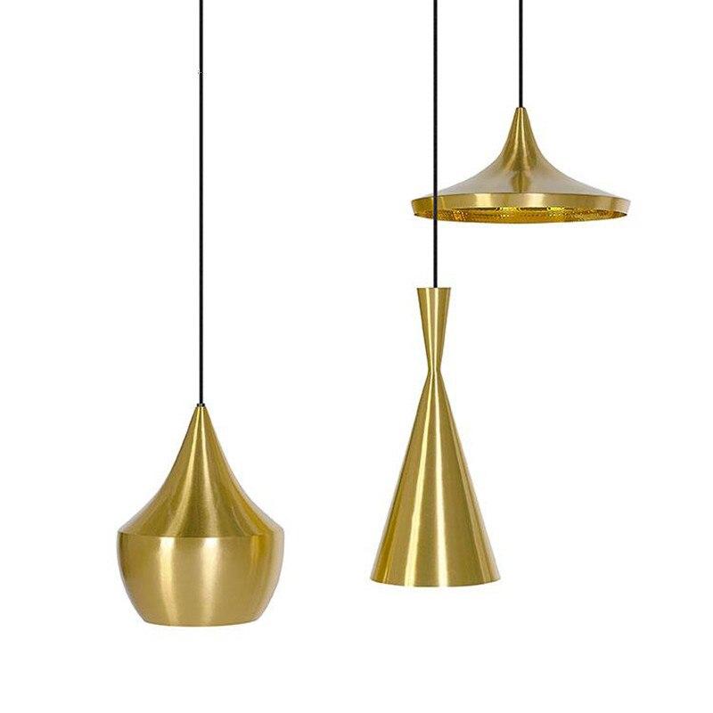 IKVVT Pingente Luzes de Iluminação Interior de Alumínio Dourada Sombra Luminária Restaurante Sala de Café Bar Deco Pendurado Lâmpada com E27