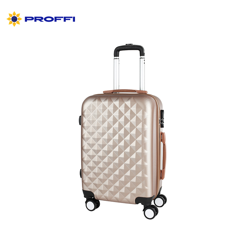 Stylish beige PROFFI TRAVEL PH8367beige, S, plastic suitcase with 4 wheels with combination lock