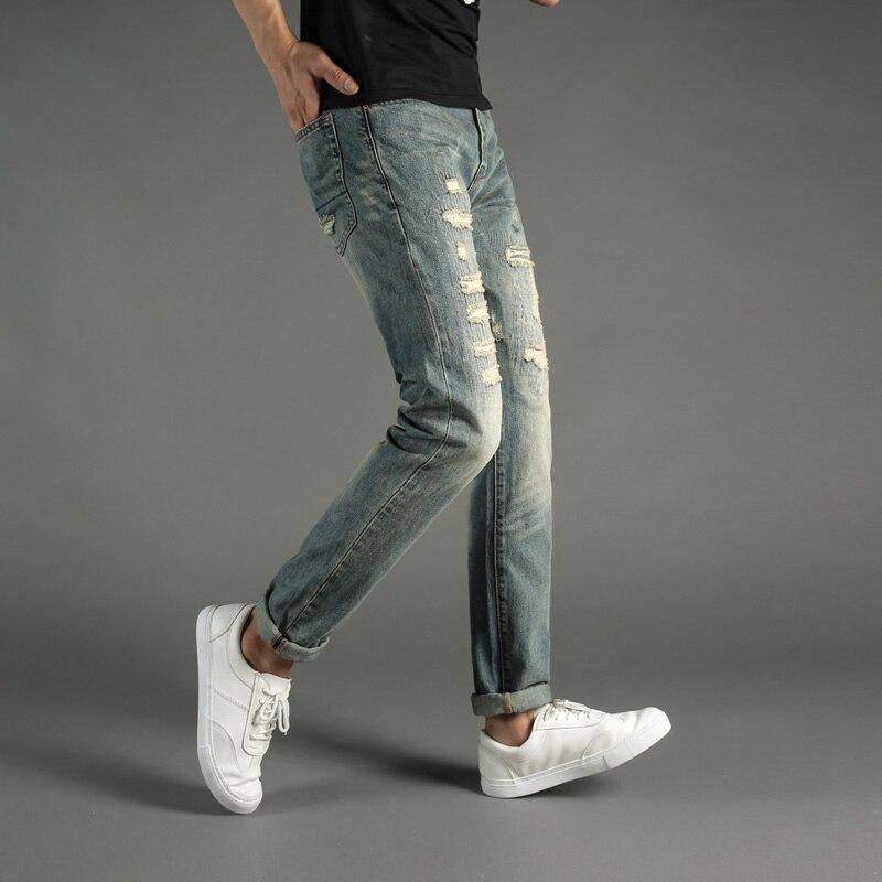 European American Fashion Street Mens Jeans Slim Fit Destroyed Ripped Jeans Men DSEL Brand Patchwork Frayed Biker Jeans Pants italian style fashion men jeans light blue color denim stripe ripped jeans men dsel brand street slim fit biker jeans trousers