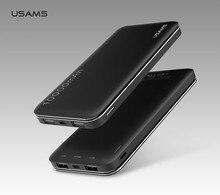 USAMS для iPhone Samsung Xiaomi Мощность Bank 10000 мАч Dual USB Мощность Bank Мобильный телефон Портативный Зарядное устройство Внешний Батарея