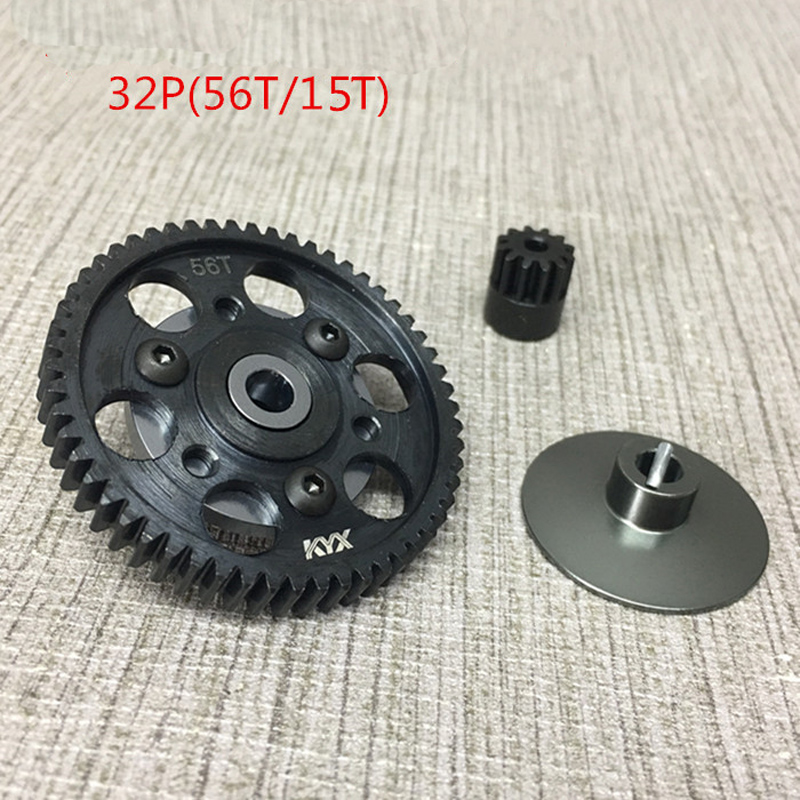 1Set Hardened Steel Gear 56T/15T(32P) Motor Gearbox Gears Metal Reduction/Differential Main Gear for Axial scx10 wraith RC Cars jx pdi 5521mg 20kg high torque metal gear digital servo for rc model