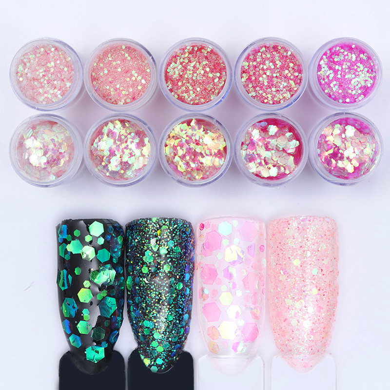 10 Boxes Pink Hexagon Nail Glitter Sequins Powder Set Sparkle Nail ...