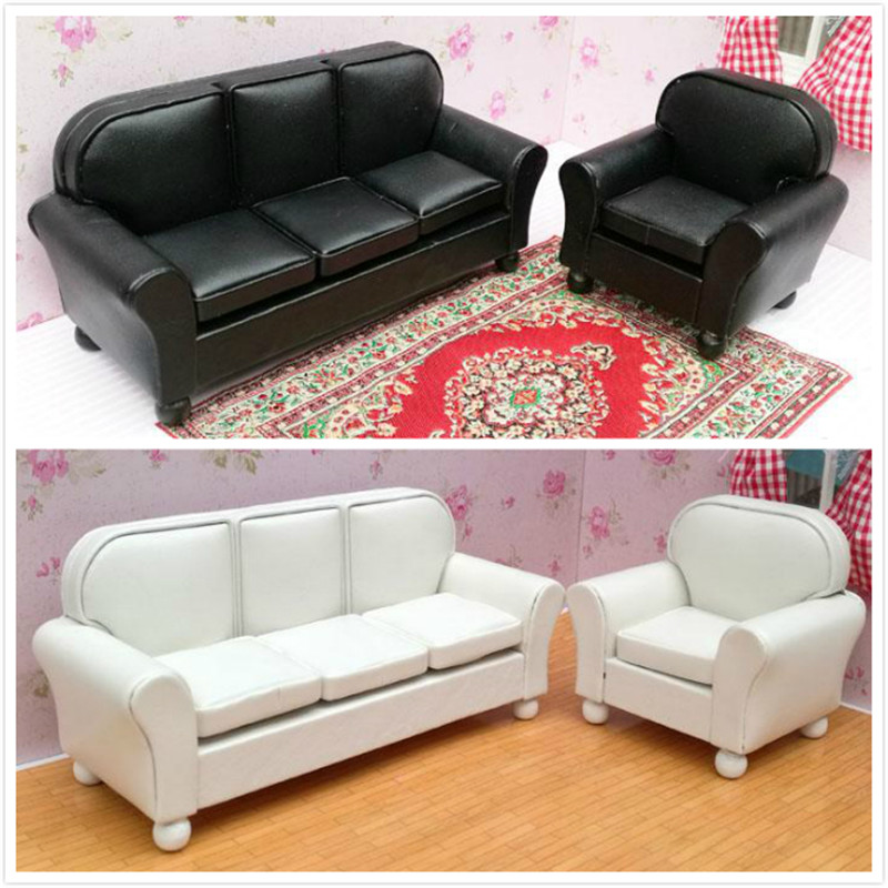 1:12 Dollhouse Furniture Toy For Dolls Miniature Sofa Simulation Soft Three Sofa Furniture Kids Children Pretend Play Toys Gifts
