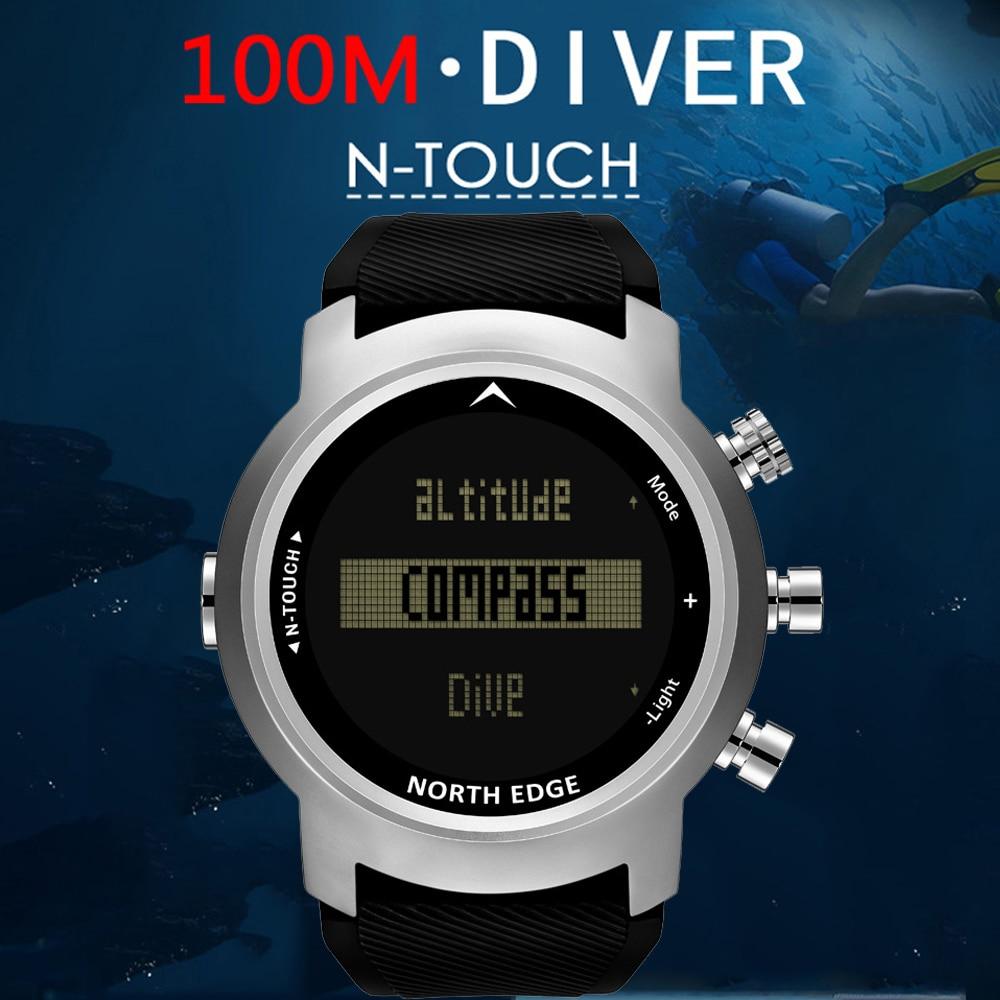 North Edge 2019 hommes 100 m étanche plongeur montres montres intelligentes montre numérique Sport plongée montre altimètre baromètre Smartwatch