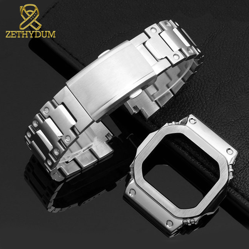 High Quality Solid Stainless Steel Watchband For Casio G-shock GW-M5610 DW5600 G-5600E GW-B5600 Watch Band And Case Metal Strap