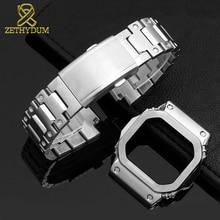 عالية الجودة الصلبة الفولاذ المقاوم للصدأ مربط الساعة ل casio g shock GW M5610 DW5600 G 5600E GW B5600 حزام (استيك) ساعة و حالة المعادن حزام