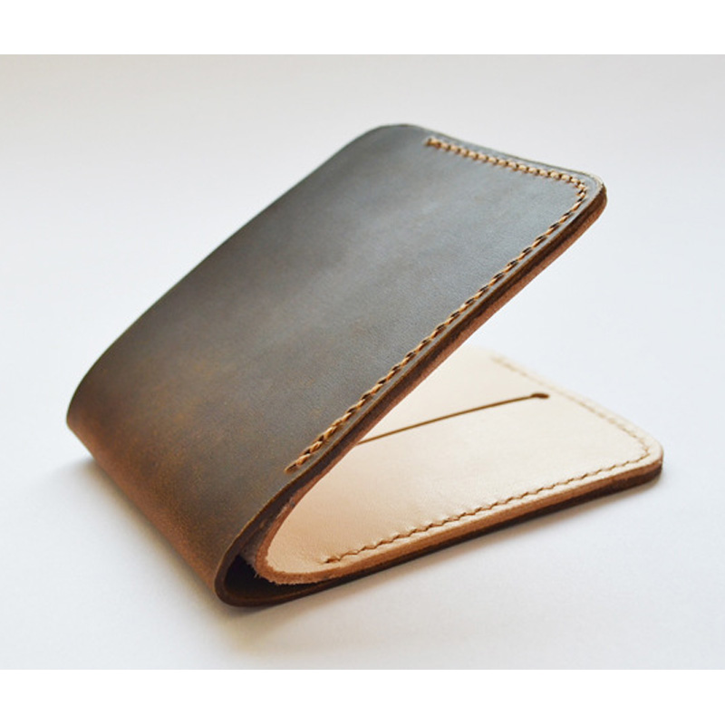 Handmade Crazy Horse Cow Leather Men Leather Wallet mini Mens Wallet Leather Genuine Wallet Men Luxury Brand Wallets handwork cow leather handmade men wallet high quality retro genuine leather men wallets vegetable tanned leather wallet handmade