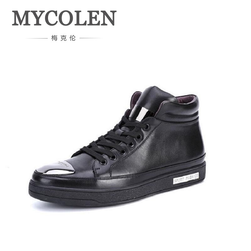 MYCOLEN Men Genuine Leather Black Boots Men Comfortable Sneakers British Style Men Bling Punk Style Shoes Zapatillas Lona Hombre iarts aha072924 hand painted the flying eagle oil painting red 60 x 40cm