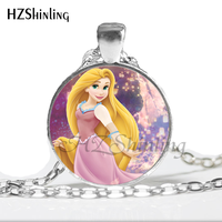 НС-00735 новая мода круглый стекло кабошон красивая принцесса рапунцель ювелирные изделия стекло кабошон цепочки и ожерелья для девочек гц1