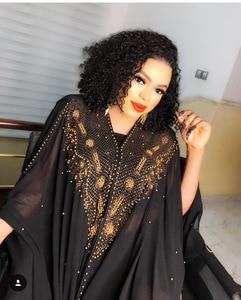 Image 2 - Plus Size Afrikaanse Jurken Voor Vrouwen Dashiki Diamant Kralen Afrikaanse Kleding Abaya Dubai Gewaad Avond Lange Moslim Jurk Hooded Cape