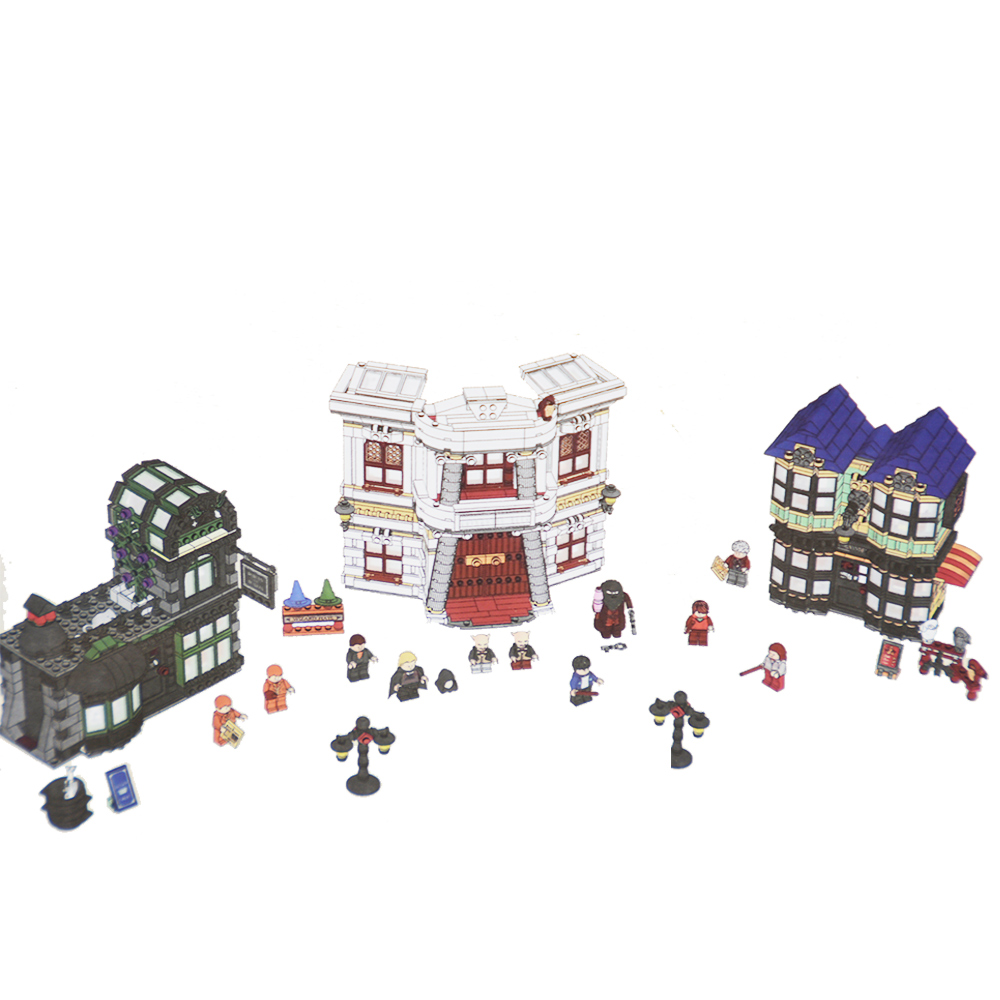 16012 Movie series Harry Potter The Diagon Alley Set Building Blocks DIY Bricks Model Toys for children Compatible 10217 hc9009 1650pcs pikachu cartoon movie series without original box building blocks diamond bricks toys compatible with loz