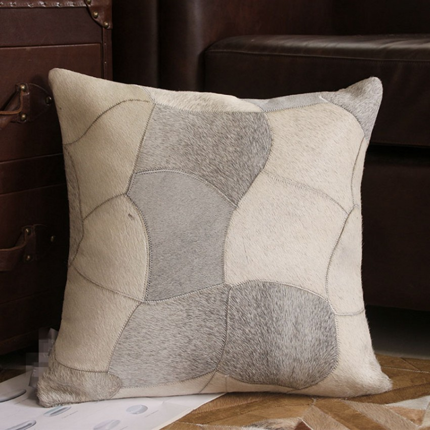 Classical Gray Color Handmade Cow Leather Throw For Furniture 45cm Single Side Cowhide Skin Fur Pillow Cushion With Core