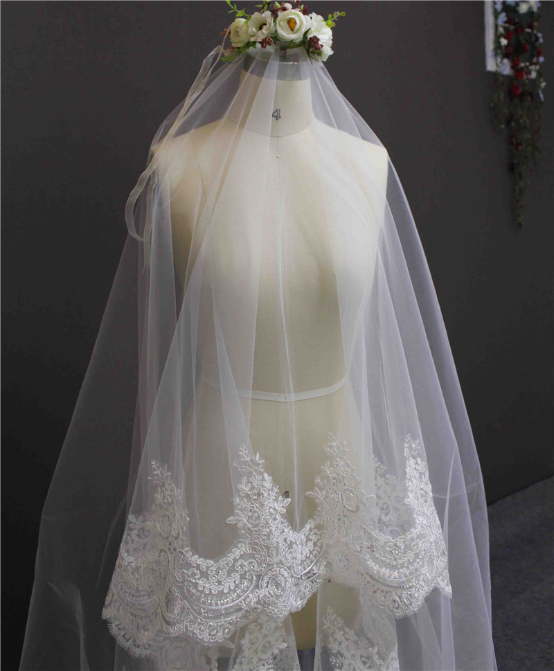 2016 New Romantic Lace Edge One Layer 3 meter Bruidssluier zonder kam - Bruiloft accessoires - Foto 5