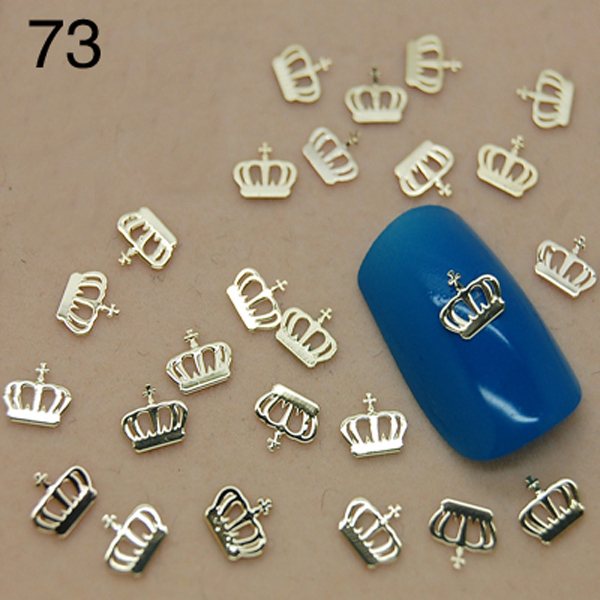 V73 800 unids/lote oro metálico corona para uñas decoración de uñas ...