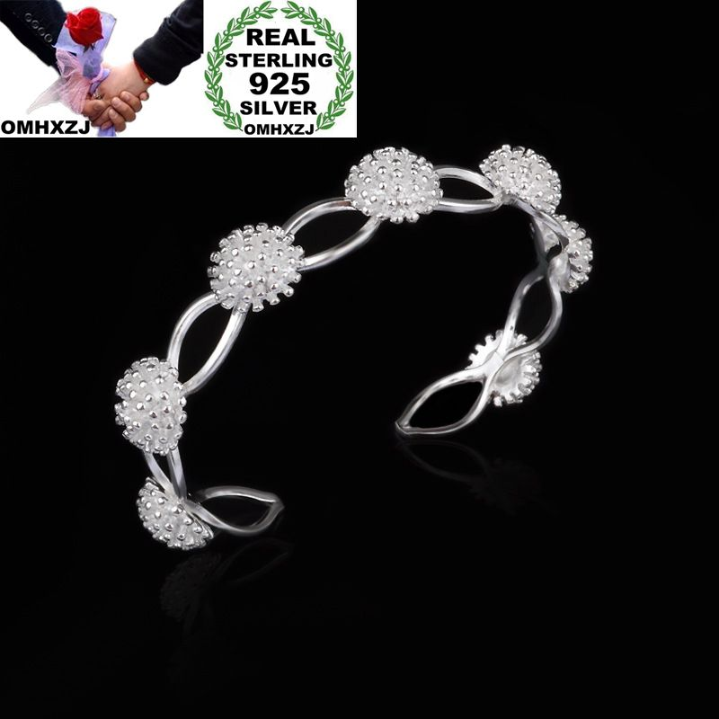 Creative Omhxzj Wholesale Personality Fashion Woman Girl Party Gift Silver Seven Fireworks 925 Sterling Silver Cuff Bangle Bracelet Br139 Strong Packing Fine Jewelry