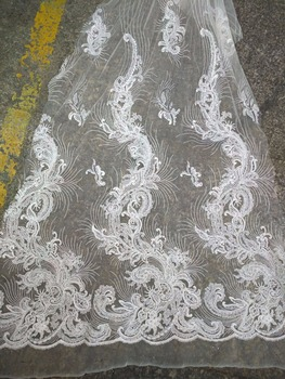 fashionable embroidery lace fabric with stones z-han833  African Lace Fabric for wedding dress french net lace fabric