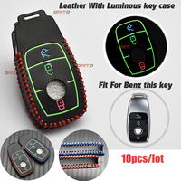 For Mercedes Benz Classe E E200 E260 E300 E320 Car Emblems Remote Key Smart bag Luminous leather car key case cover 10pcs/lot