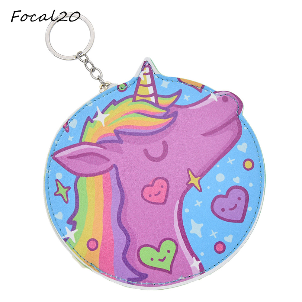 Focal20 Multi Color Cute Animals 3D Unicorn Round Shaped Coins Pouch Girls Artificial Leather Money Bag Purse