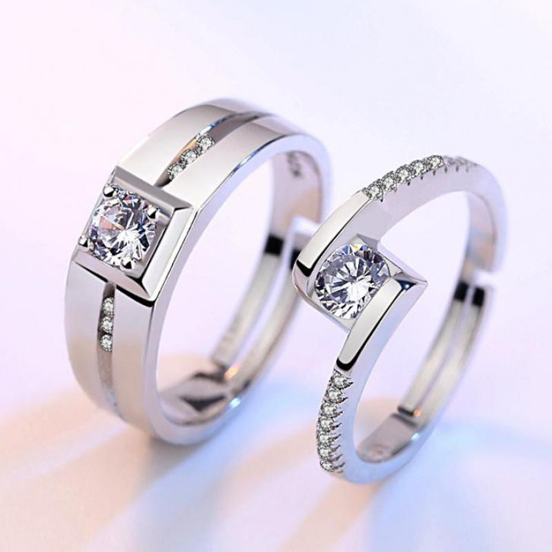 Ring Zircon Wedding Ring 925 Sterling Silver Color Rings For Women Anel Men Jewelry Anillos Couple Jewellery Valentine's Day
