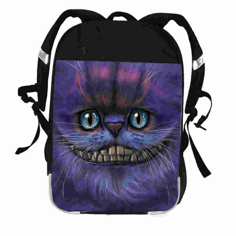 6487539b16 Cheshire Cat Backpack Anime Animal Funny Mad Cat Face Moon Tree Luna Women  Men Boys Girls