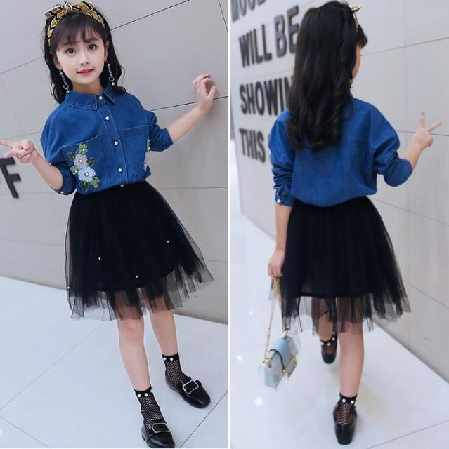 ddb14fd46ce For 6 8 10 12 14 Years Girls TUTU dress Long sleeved Jeans Shirt tulle girls  clothes kids tutu Spring dress Beaded Frocks