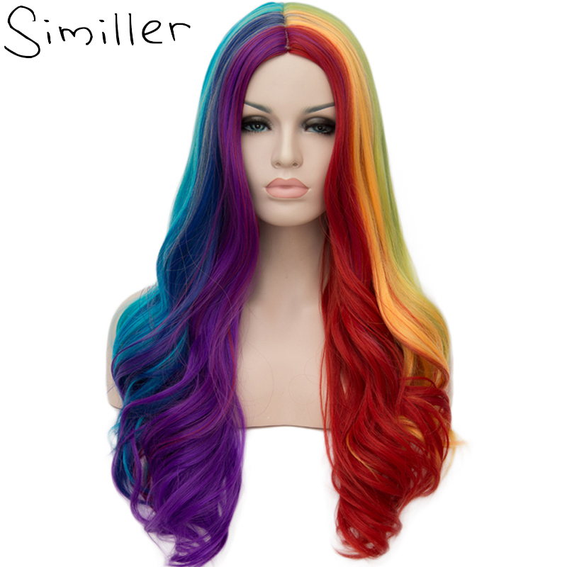 Similler 26inch Women Long Curly Wig Rainbow High Tempureture Fiber Full Head Synthetic Wigs For Cosplay Middle Parts