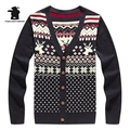 Wholesale men's Casual Knit Cardigan Cotton Winter Fashion v-neck Christmas Reindeer Sweater For Men Pull Homme M~XXL DB12G6209