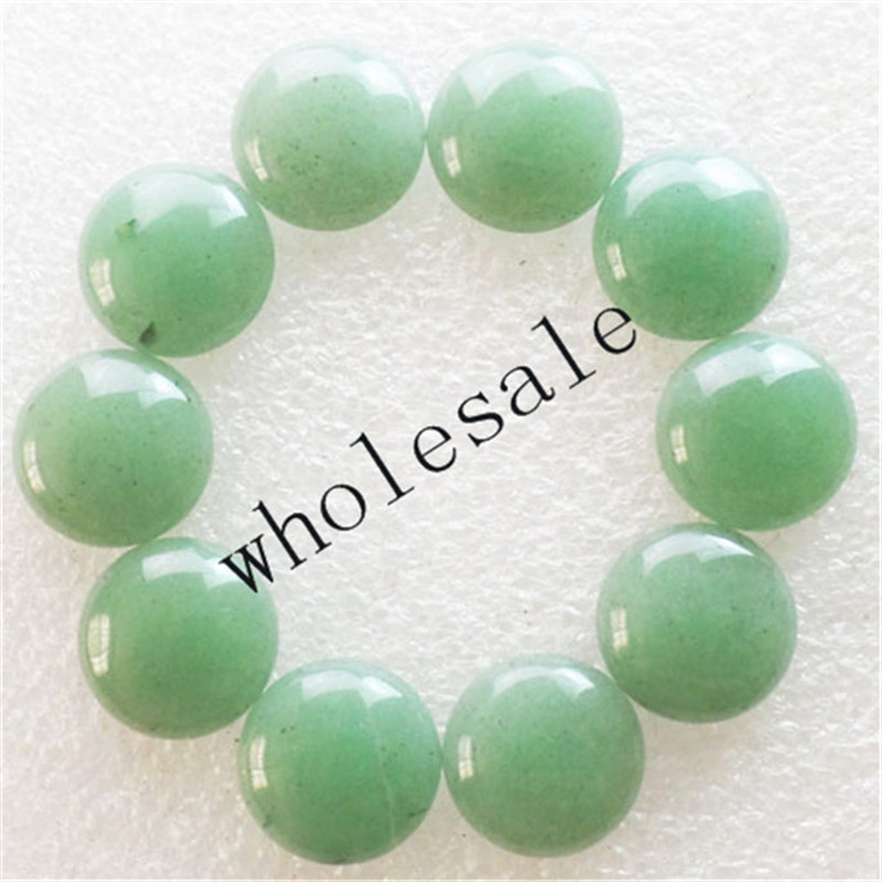 (12 pieces/lot) Wholesale High Quality Natural Green Aventurine Round CAB Cabochon for jewelry Accessories 16x5mm Free Shipping