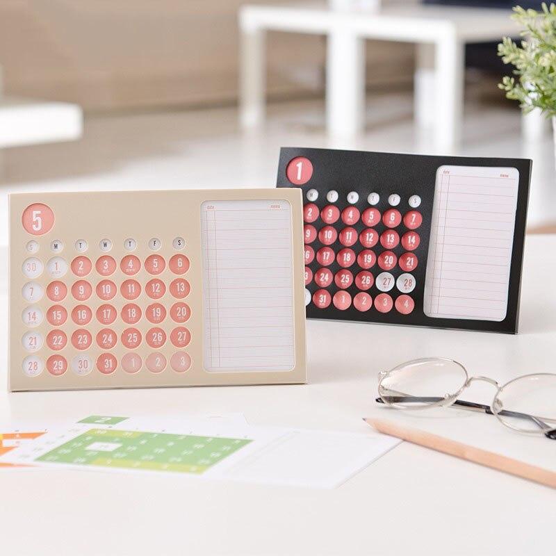 2019 1 pc Creative Mini Ultra-Mince Pp Bureau Mensuel Calendrier Planificateur Unique Ans Anglais Table Calendriers Conseil Organisateur bureau