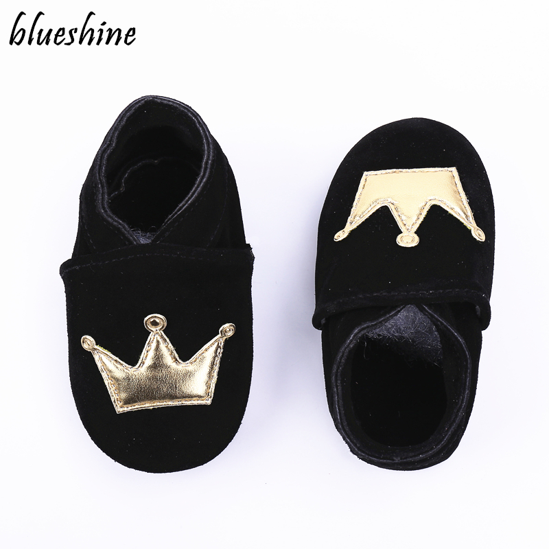 Black Genuine Leather Suede Baby Boys Shoes Baby Moccasins Crown And Stars Soft Bottom First Walkers Free Shipping