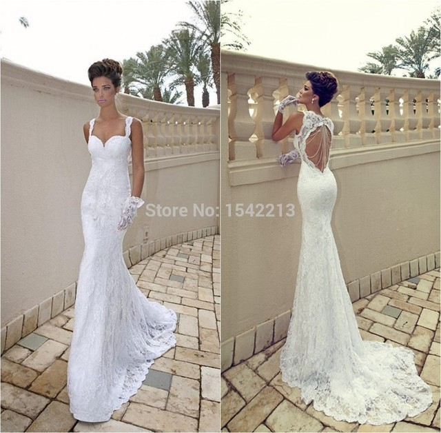 European Style Vestidos De Renda Lace Y Mermaid Trumpet Wedding Dress Long Bridal Gowns