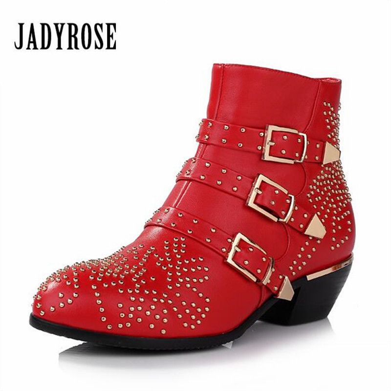 Jady Rose Fashion Rivets Studded Women Boots Red Black Autumn Winter Ankle Boots Genuine Leather Thick Heel Rubber Rain Botas
