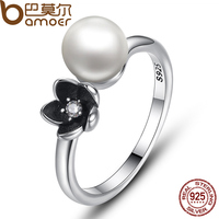 BAMOER 2016 Brand New Collection 925 Sterling Silver Mystic Floral Stackable Ring Pearl Black Enamel Ring