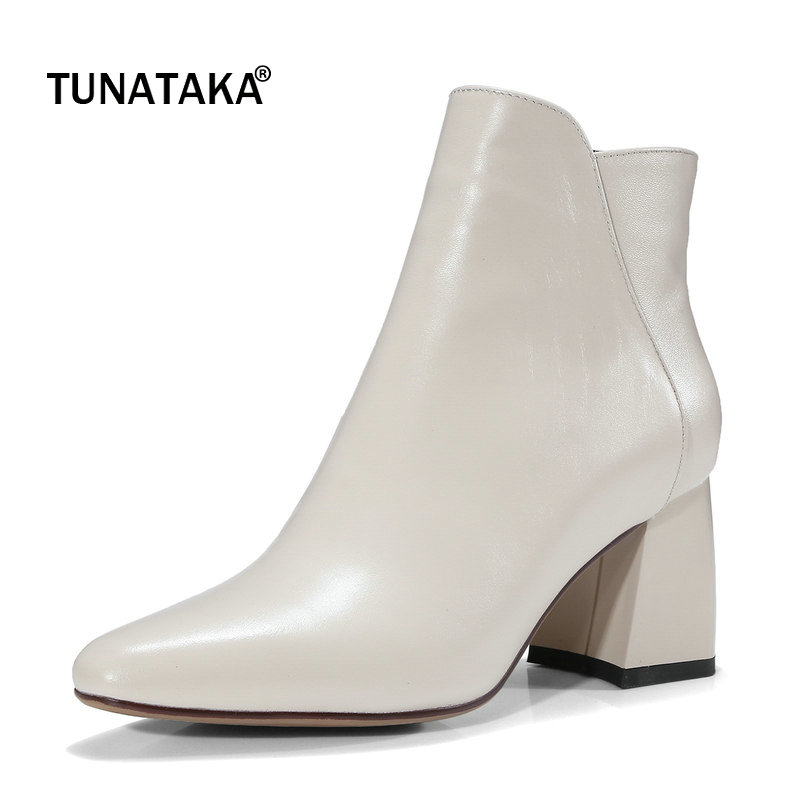 Genuine Leather Comfort Square Heel Side Zipper Woman Ankle Boots Fashion Pointed Toe Dress Boots Ladies Black Beige