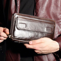 2017 New Top Natural Cowhide Men S Clutch Bag Brand Retro Genuine Leather Wallets Multilayer Phone