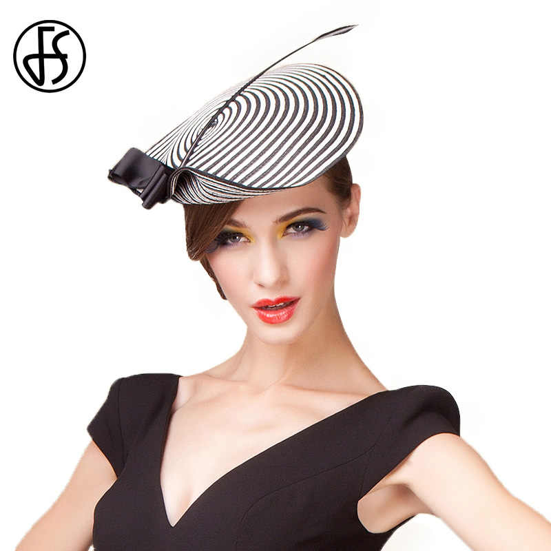 FS Fascinators Dress Hats For Women Elegant Black White Weddings Pillbox Hat Vintage Formal Church Fedora Chapeau Femme Mariage