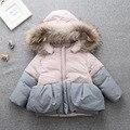 Feitiço de algodão 2016 das crianças gola de pele verdadeira das 2-TChildren cor de algodão-acolchoado do bebê espessamento das crianças Coreanas idade 2-8 T