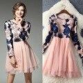 2017 nueva primavera dress mujeres appliques bola neta del hilado vestido vestidos temperamento o-cuello de manga larga encima de la rodilla dress