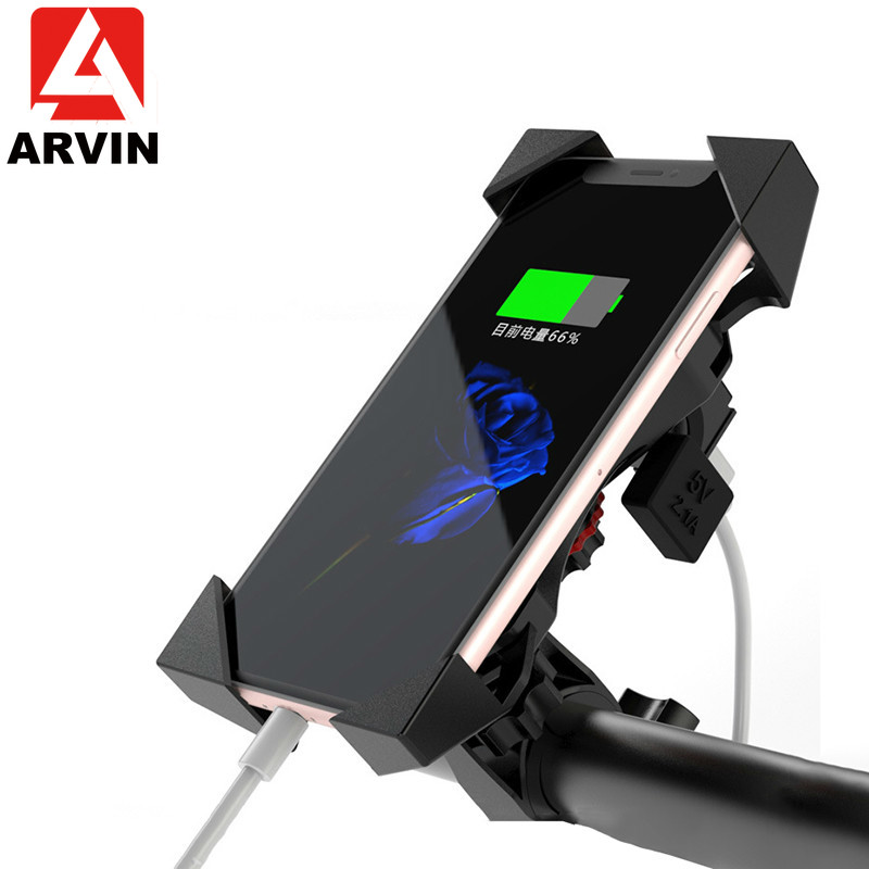 ARVIN Motorcycle Phone Fast Charging Holder For IPhone X 8P Moto USB Charger Stand Auto Lock 360 Rotation Mobile Phone GPS Mount