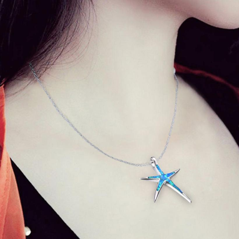 2018 New Arrival Women Sterling Silver Charm Star Fish Pendant Sweater  Necklace Jewelry Ornament